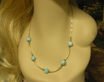 Dominican Larimar with Gold Fill Necklace