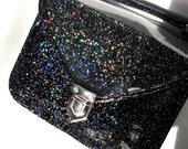 Mady Small Black Multicolor Glitter Vinyl Crossbody Bag (Ready to Ship)