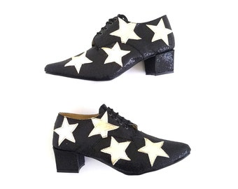 Pony Oxford Vegan Stars Leather Pointed Lace-up heels (Handmade to order)