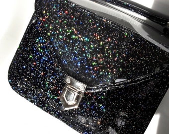 Mady Small Black Multicolor Glitter Vinyl Crossbody Bag (Ready to Ship)