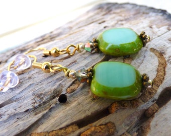 Window Glass Bead Earrings, Green, Mossy, Crystal, Elegant, Organic