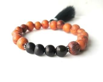 Black Orange Seed Bracelet / Acai Bohemian Beadwork Bracelet / Natural Stacking Bracelet / Tassel Bracelet /Woodland Inspired /Fall Bracelet