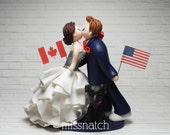RESERVED - Kissing Romantic Multi Cultural Cross Country Wedding Cake Topper
