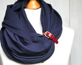 NAVY BLUE Infinity Scarf with leather cuff, nautical fashion scarf, marine style, infinity scarf with strap