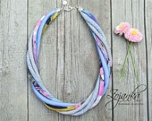 FABRIC necklace, statement necklace  textile jewelry, fashion gift ideas, necklaces, BLUE necklace, statement jewelry, BIB