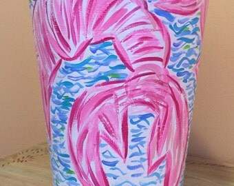Hand painted trash cans in Lilly Pulitzer inspired design