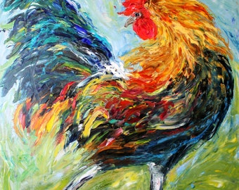 Fine Art Print Rooster made from image of oil painting by Karen Tarlton - Rhode Island Red