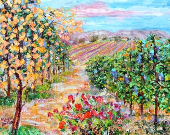 Original oil painting California Vineyard Glow abstract palette knife impressionism on canvas fine art by Karen Tarlton
