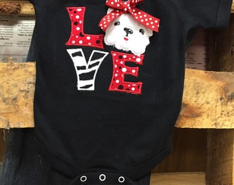 Infant or Newborn LOVE Bulldogs onsie or gown with bow, great as baby shower gift for a bulldog fan! Red and black polka, Baby Shower Gift
