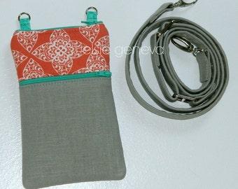 Coral Grey Phone Case Shoulder Strap Japanese Linen Emerald  Turquoise Aqua Lace & Floral Rosette iPhone 4 5 6 Plus Note