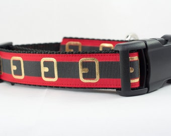 Santa Dog Collar - 1 inch wide - christmas dog collar - winter dog collar - red dog collar - santa belt dog collar - santa collar - Holiday