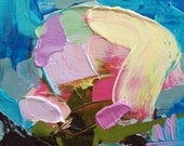 Peony no. 14 Original Floral Impasto Oil Painting by Angela Moulton 5 x 5 inch on Birch Plywood Panel Pre-order