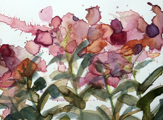 Spotted joe pye weed original botanical floral watercolor for Aquarelliste chinois