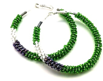 Boho Jewelry, Green Earrings, Purple Hoop Earrings, Statement Earrings, Beaded Hoop Earrings, Gifts for Her, Gypsy Boho Earrings,