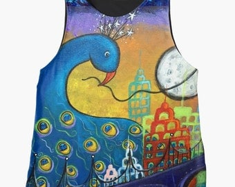 Taking Back the Night Original Art Contrast Tank for Women Sizes XS~2XL