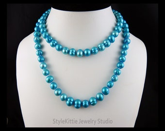 Aqua Blue Pearls, Silk Hand Knotted, 35 Inch, Rope Length, Layered Pearl Necklace, Layered Pearl Bracelet, Cultured Freshwater, Jewelry