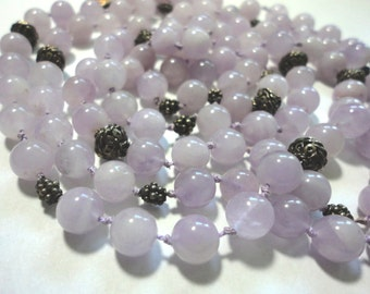 """Lavender Jade Necklace Vintage Genuine Lavender Jade 7.5 mm Beads 48"""" Long Untreated Lavender Jade Necklace w Sterling Clasp and Bali Beads"""