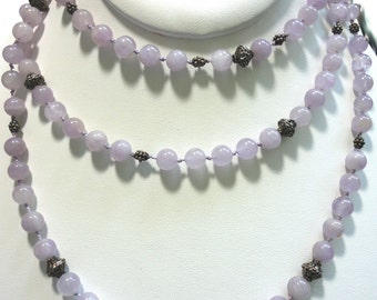 "Lavender Cape Amethyst Bead Necklace Vintage Amethyst 7.5 mm Beads 48"" of Lavender Beads w Sterling Clasp and Antiqued Sterling Bali Beads"