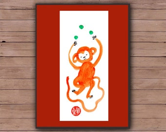 Monkey, Chinese New Year 2016 card, Year of the red fire monkey, Original Zen Painting, zen decor, japanese art, baby shower, announcement