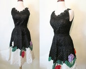 Amazing Very Rare 1950's Woven Straw Skirt and Top Two Piece Set with Three Dimensional Flowers Rockabilly VLV Pinup Day Dress Size-Small