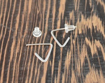 925 Sterling Silver Mini Triangle Hoop Earring with Post