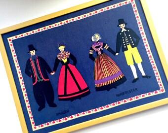 Framed Danish Linen, Vintage Danish Linen in Frame, Blue Yellow Red Danish Art, Amager Nordfalster Folk Art, Framed Danish Folk Art Fabric