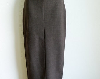SALE Romeo GIGLI long brown high-waisted skirt in wool elasthane mix
