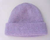 Women winter beanie hat double layered hand knitted.  Medium size  Light  lavender color. Hand knit.  Ready to ship