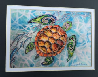"""Tropical Sea Turtle """"Honu Island Waters"""" with silvery fish fine art print, Mixed Media Watercolor Painting Tribal Turtle Christie Marie ART"""