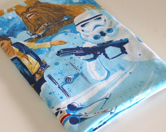 Vintage Star Wars Sheet Fabric retro reclaimed bed linen sheet fabric Darth Vader Leia Luke R2D2 Han Solo Chewie decor quilting Fabric 1y