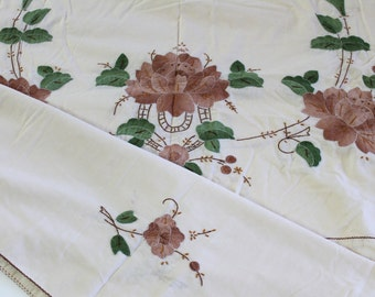 Vintage Tablecloth Large vintage appliquéd embroidered floral tablecloth vintage Cream tablecloth shades of brown floral applique 70x100
