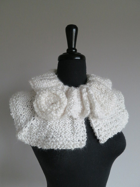 FREE US SHIPPING - White Color Ruffled Collar Capelet with Flower Brooch