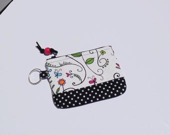 Change Purse,  Credit Card Case, Key Case, Floral orint