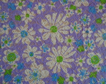Stretchy Lace Like Fabric with Daisy Pattern Remnant Piece