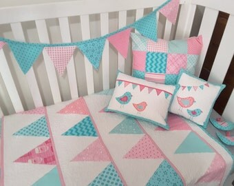 Baby quilt, nursery quilt, modern nursery, baby girl quilt, bunting quilt, pink nursery