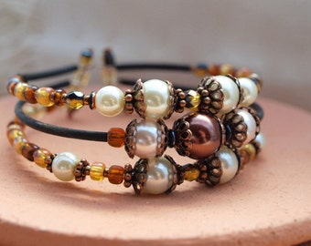 Chocolate and Cream Pearl Stacked Bracelet