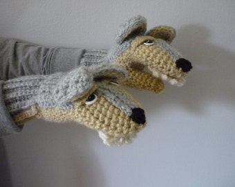 Wolf Mittens with Teeth Child L Womens Small