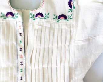 Vintage Embroidered Dress * Antique Bulgarian Folk Dress * Floral Embroidery Peasant Dress * Medium - Large