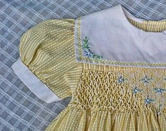 Handmade, Hand-Embroidered Yellow Seersucker SMOCKED TODDLER DRESS --  Size 18 months / 2T
