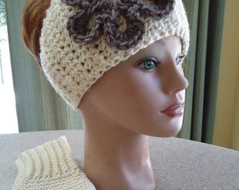 Headwrap / Earwarmer and Matching Fingerless Gloves in Beige / Cream - Hand Crocheted