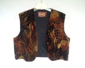 1970s Printed Velveteen Vest, Large, Susie G, Made in England, Cotton, Hippie, Boho