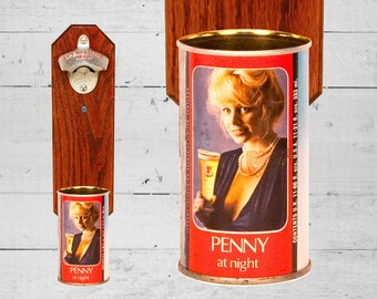 Tennent's Lager Beer Bottle Opener with Vintage Penny at Night Pin Up Girl Beer Can Cap Catcher - Great Manly Gift for Guy and Groomsmen