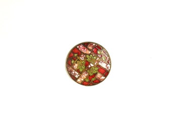 1800's Copper Enamel Ivy Button