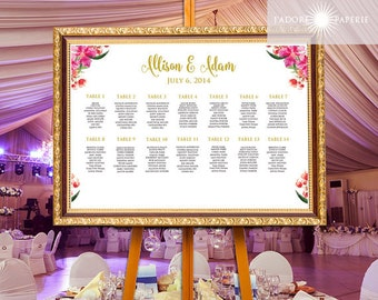 Personalized Wedding Seating Chart, Seating Plan, Table Plan, Printable Floral Table Plan, Reception, Wedding Seating Poster, jadorepaperie