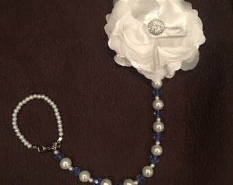 Pearl and Blue Pacifier Clip