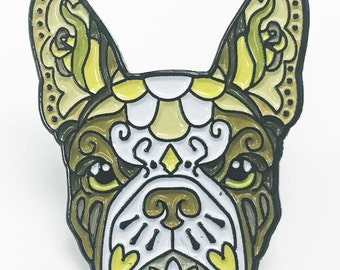 French Bulldog Brown and White Sugar Skull Tattoo Breed Dog Lover Enamel Laptop Pin
