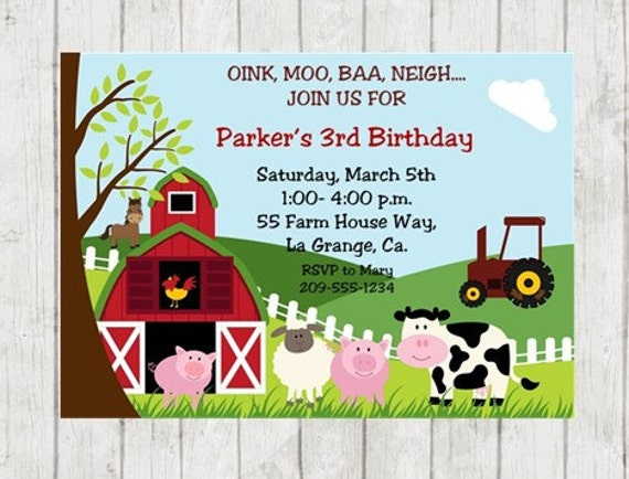 farm birthday party invitation farm animal birthday invite