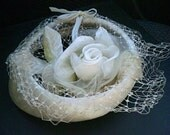 White Netted Hat, Bride Hat, Pillbox, White Rose, Faux Fur Brim, Bridal, Formal, 1940s, 1950s