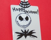 Hand Painted Nightmare Before Christmas Jack Skellington Porcelain Christmas Tree Ornament
