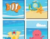 Sea Creatures Nursery, Girl Nursery Decor, Boy Nursery Decor, Kids Bathroom Art, Fish, Sandcastle, Octopus, Beach,Set of 4, Prints or Canvas